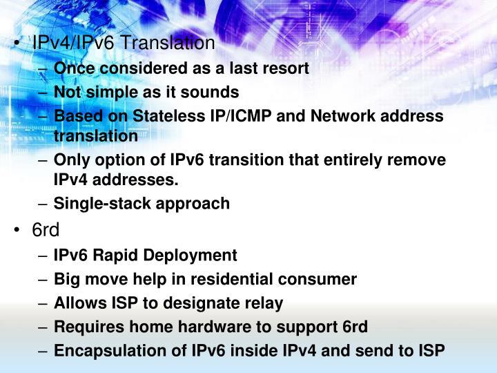 IPv4/IPv6 Translation