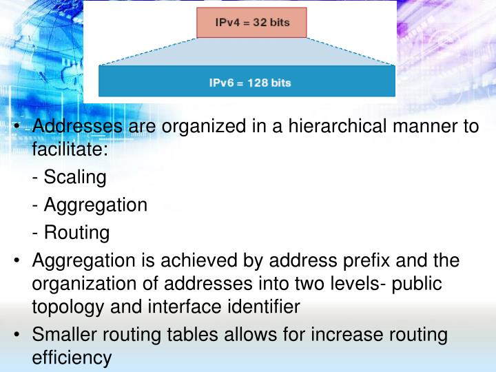 Addresses are organized in a hierarchical manner to facilitate: