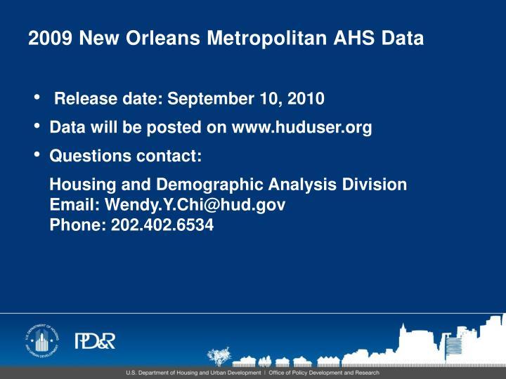 2009 New Orleans Metropolitan AHS Data