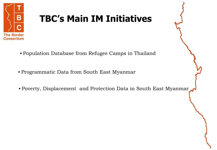 TBC's Main IM Initiatives