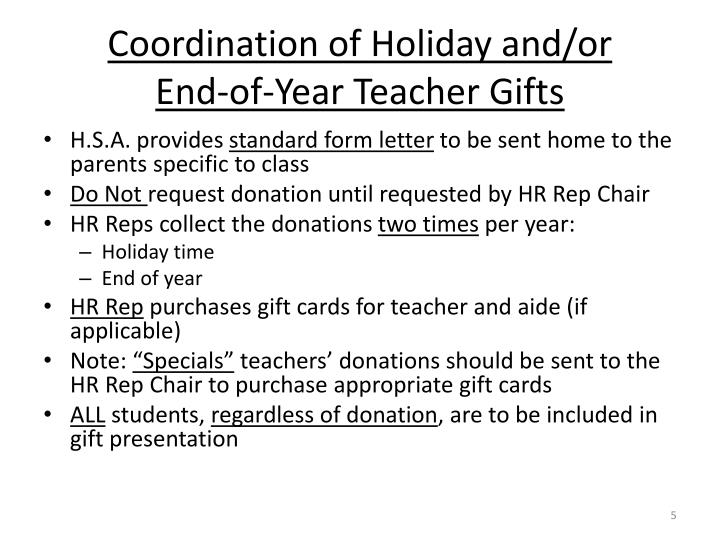 Coordination of Holiday and/or