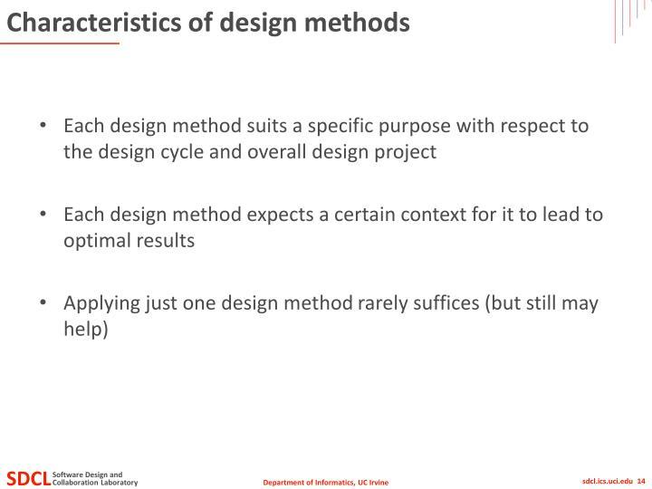 Characteristics of design methods