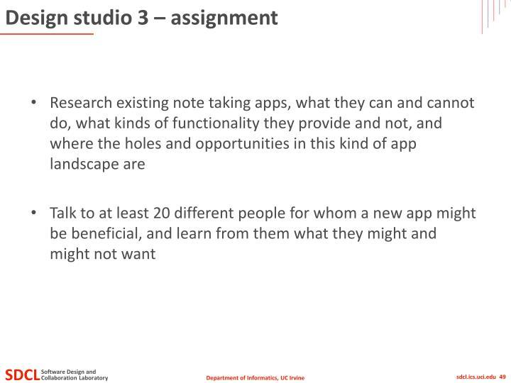 Design studio 3 – assignment