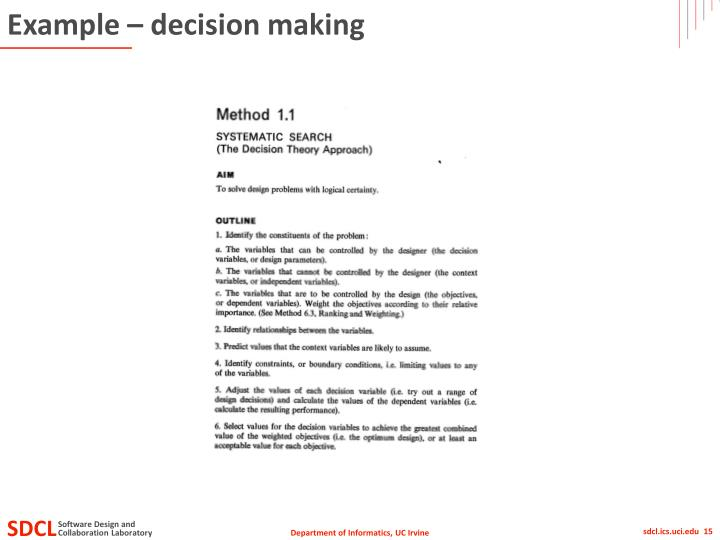 Example – decision making