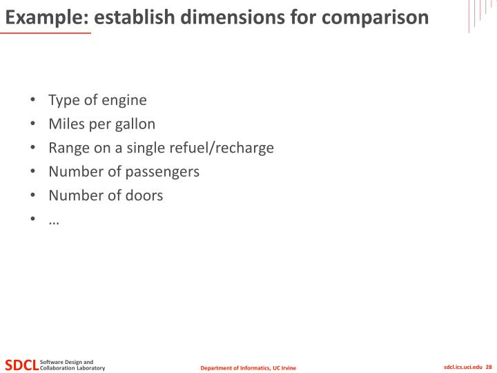Example: establish dimensions for comparison