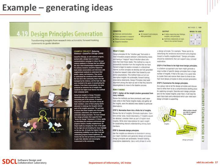 Example – generating ideas