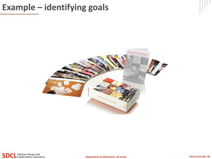Example – identifying goals