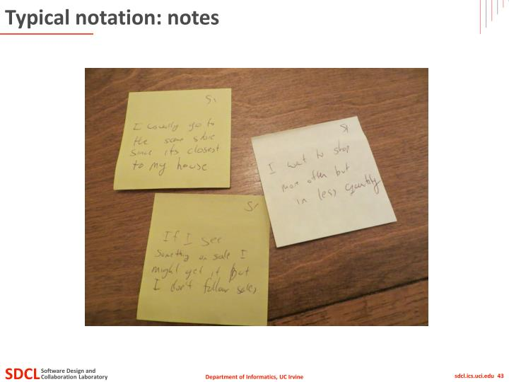 Typical notation: notes