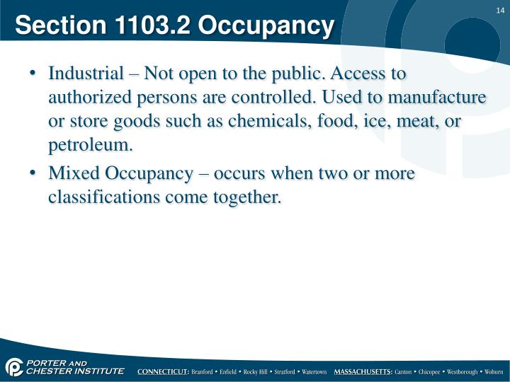 Section 1103.2 Occupancy