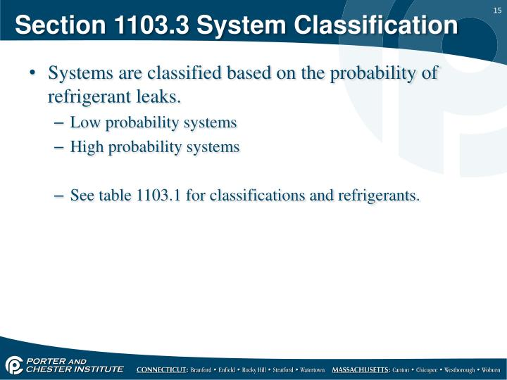 Section 1103.3 System Classification