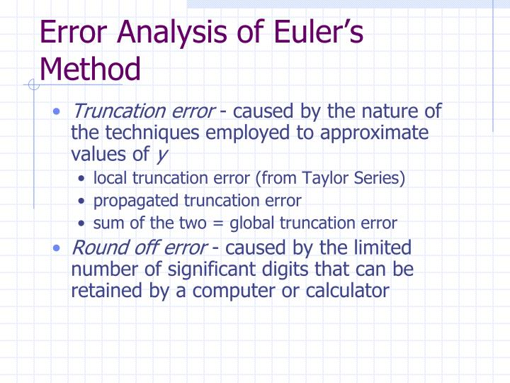 Error Analysis of Euler's Method