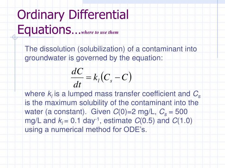 Ordinary differential equations where to use them