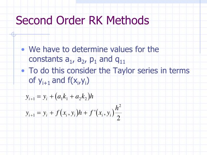 Second Order RK Methods