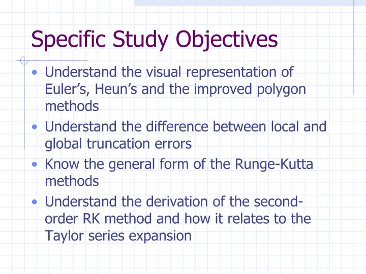 Specific Study Objectives