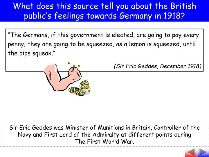 What does this source tell you about the British public's feelings towards Germany in 1918?