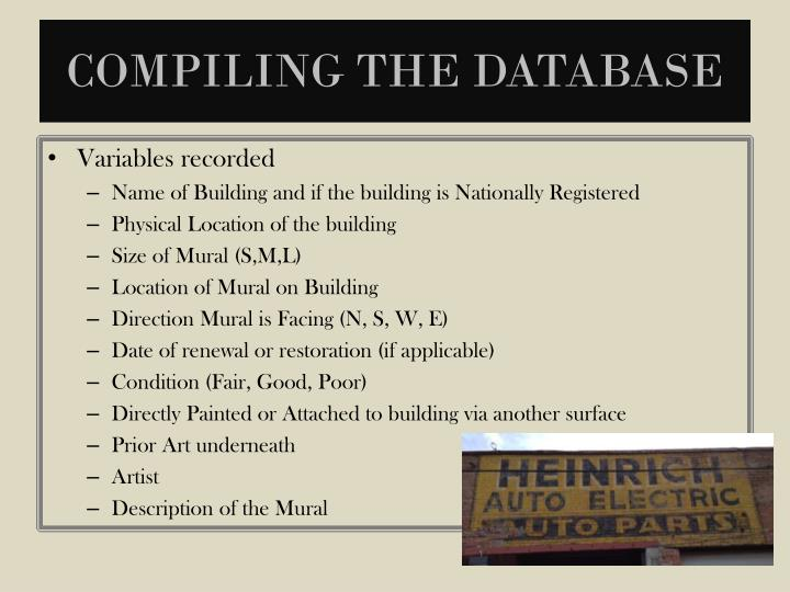 Compiling the Database