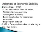 attempts at economic stability