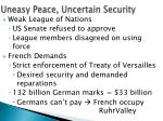 uneasy peace uncertain security