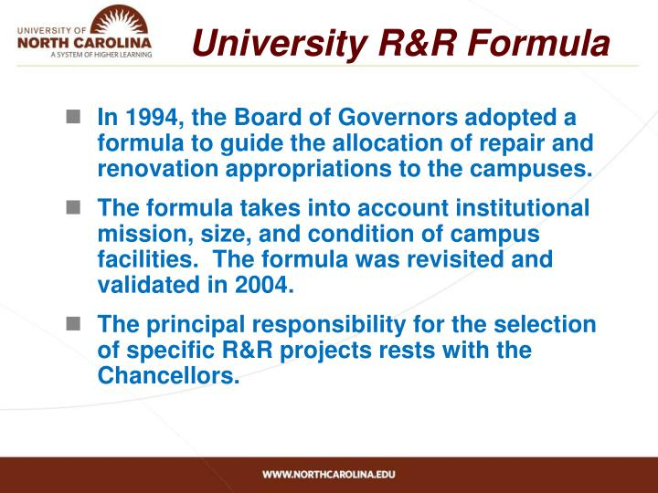 University R&R Formula