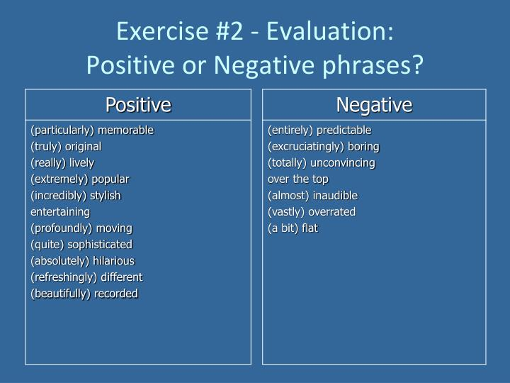 Exercise #2 - Evaluation: