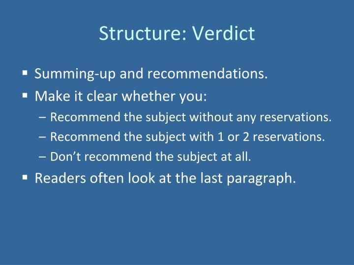 Structure: Verdict