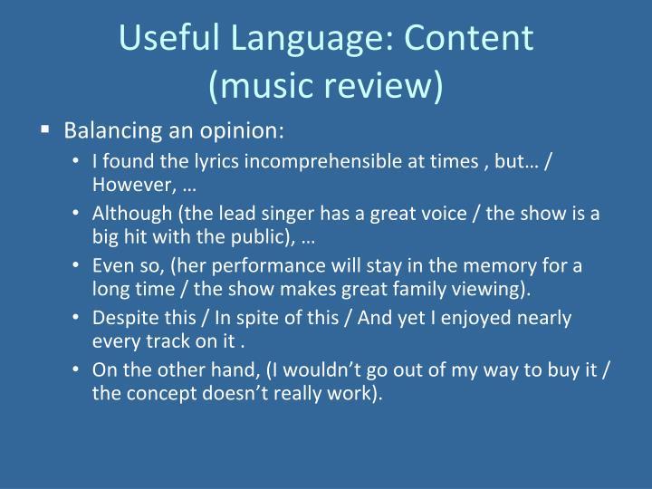 Useful Language: