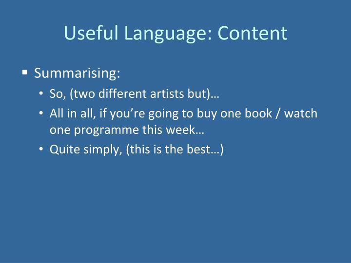 Useful Language: Content