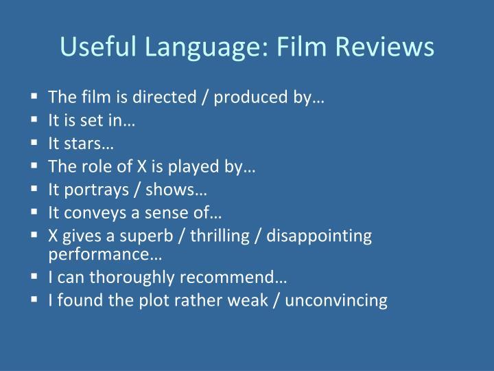 Useful Language: Film Reviews