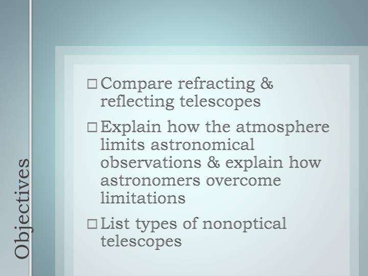Compare refracting & reflecting telescopes