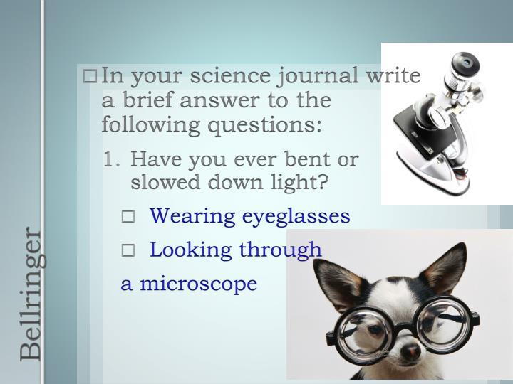 In your science journal write a brief answer to the following questions: