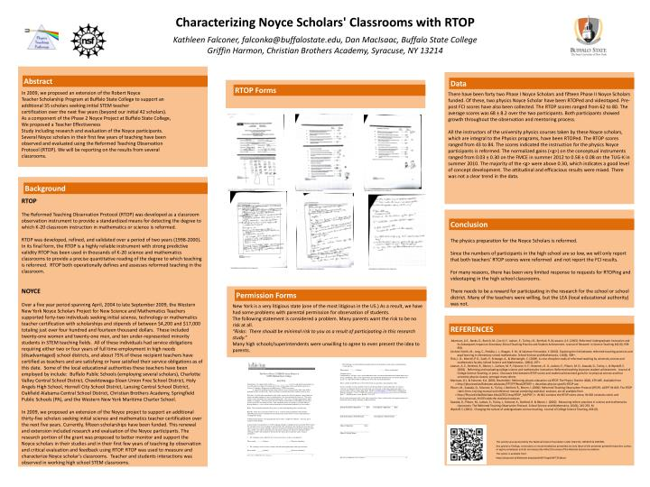 Characterizing noyce scholars classrooms with rtop