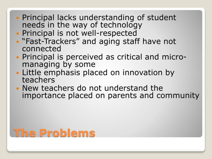 Principal lacks understanding of student needs in the way of technology