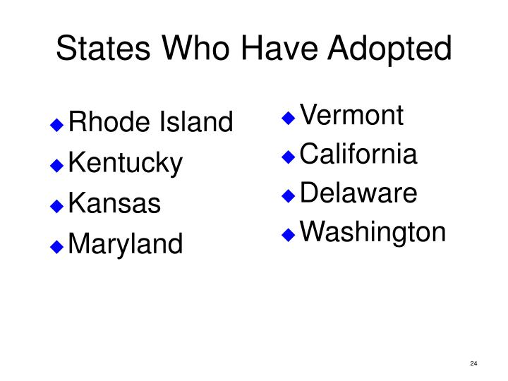States Who Have Adopted