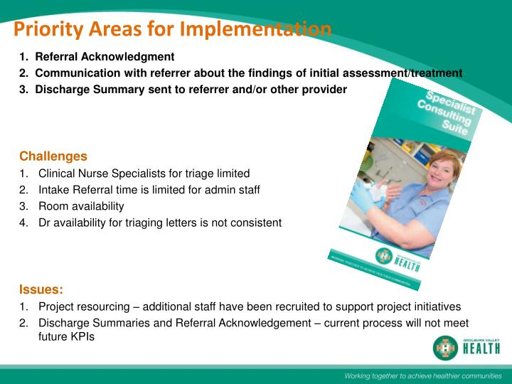 Priority Areas for Implementation