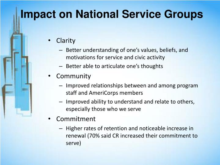 Impact on National Service Groups