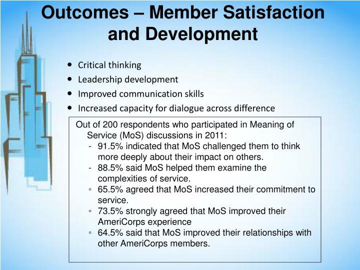 Outcomes – Member Satisfaction and Development