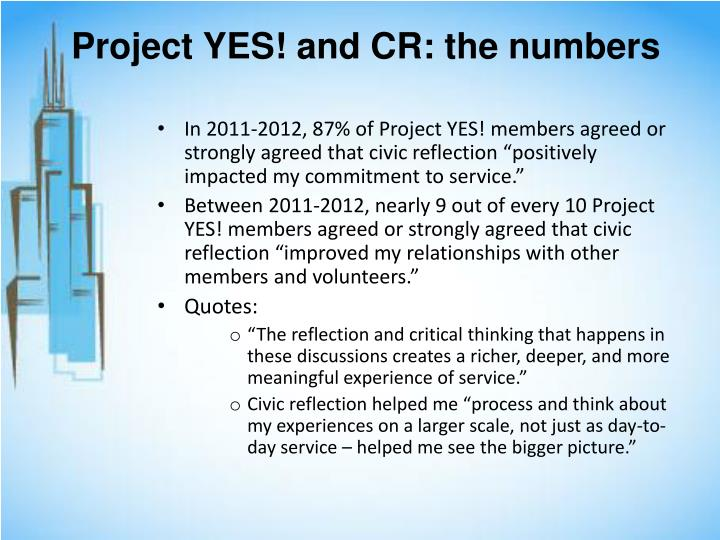 Project YES! and CR: the numbers