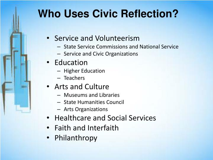 Who Uses Civic Reflection?