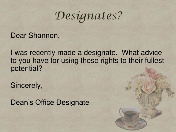 Designates?