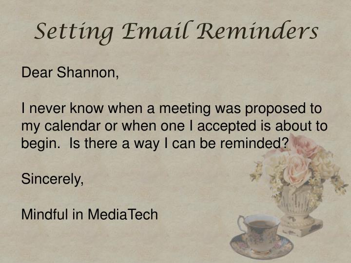 Setting Email Reminders
