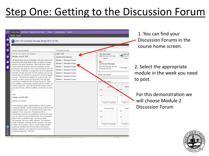 Step One: Getting to the Discussion Forum