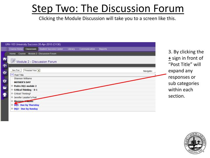 Step Two: The Discussion Forum
