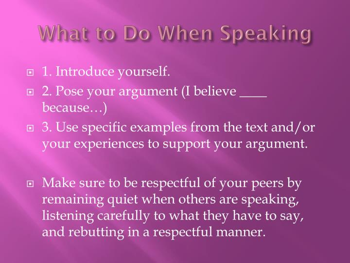 What to Do When Speaking