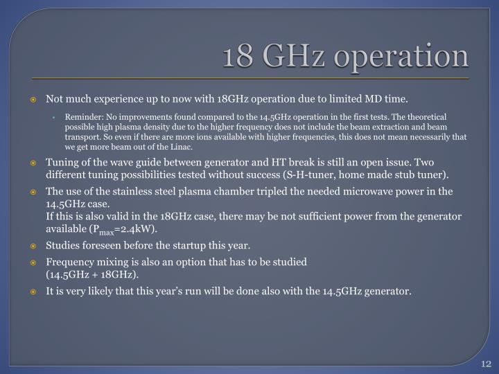 18 GHz operation