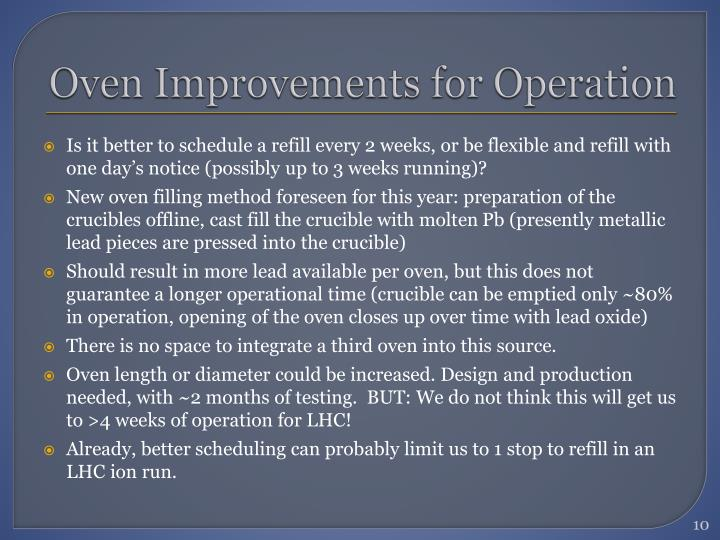 Oven Improvements for Operation