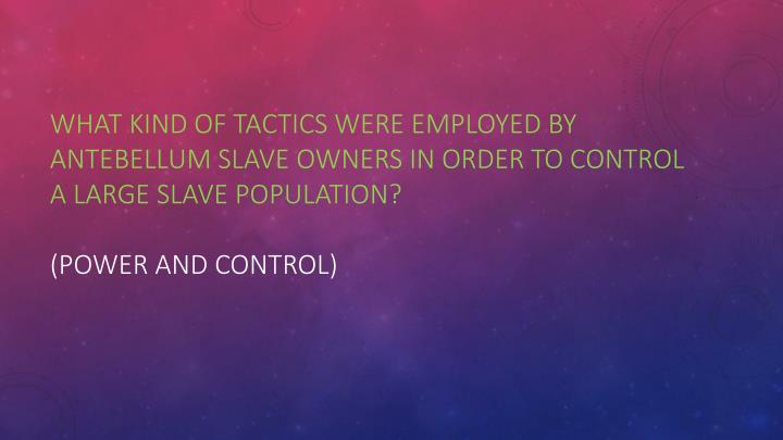 What kind of tactics were employed by antebellum slave owners in order to control a large slave population?