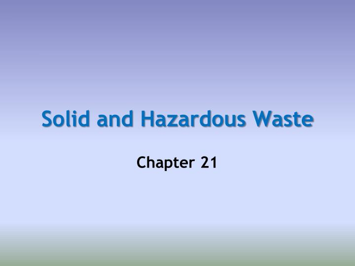 solid and hazardous waste essay