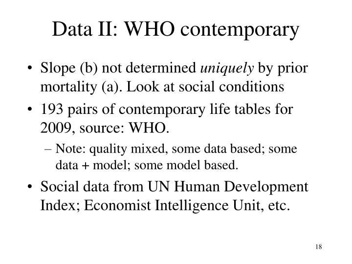 Data II: WHO contemporary