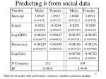 predicting b from social data
