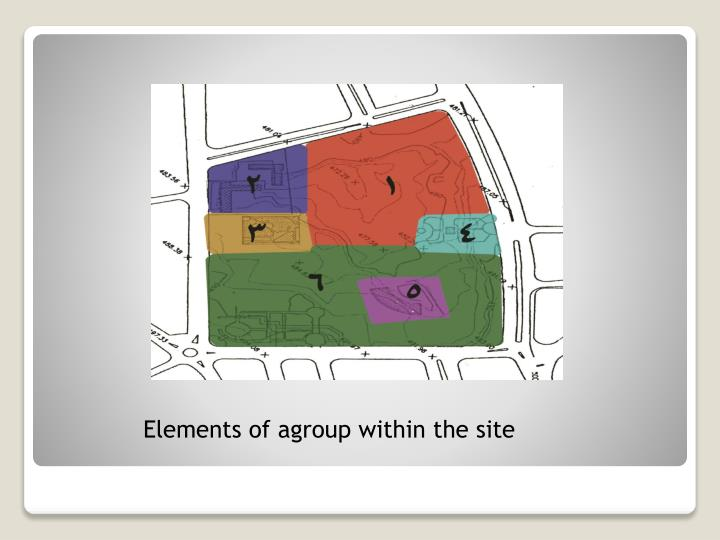 Elements of agroup within the site